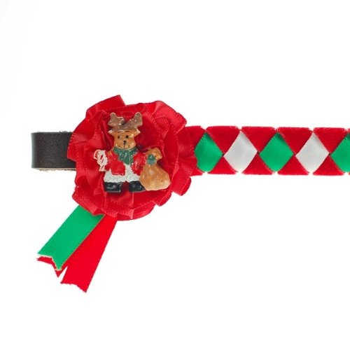 Christmas Browband (choose from Rudolph or Santa and sizes pony, cob or full) -velvet and satin browband on 1/2 English leather William Hunter Equestrian