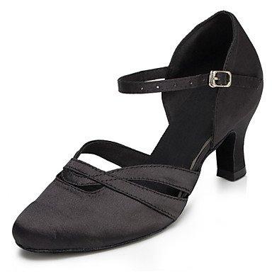 XIAMUO Anpassbare Damen Tanz Schuhe Satin Satin Latin/Jazz/Modern/Swing Schuhe/Sandalen Salsa/Fersen angepasste HeelPractice/, Schwarz, US 8 / EU 39/UK6/CN 39