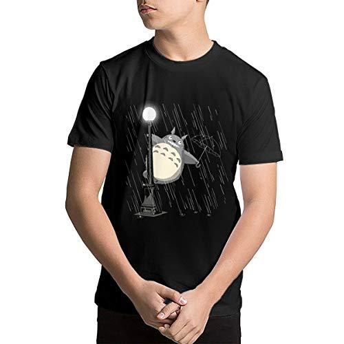 Tonari No Totoro Just Singing in The Rain Youth Cotton Short Sleeve Crew Neck T-Shirt Black