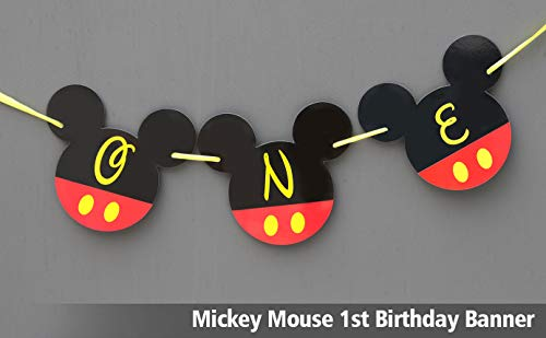 Mickey Mouse 1st Birthday Banner | ONE Birthday Banner | Happy Birthday Banner | Mickey mouse birthday Banner | Disney Banner | Club House 1st birthday | Card Stock Banner #CARD_BAN_7