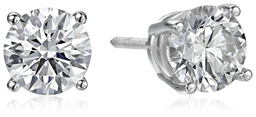 IGI Certified 18k White Gold Lab Created Diamond Stud Earrings (1 1/2 cttw, G-H Color, VS1-VS2 Clarity) by Amazon Collection