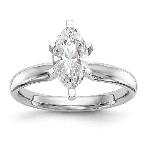 - 14k White Gold 1ct. TulipHead ComfortFit Marquise Solitaire Mounting Size 7 Length Width 3
