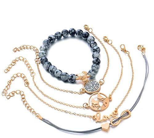 Eleusine 5pcs Bohemian Weaving Letters Wristband Multilayer Bracelet Set Women Bracelet Jewelry
