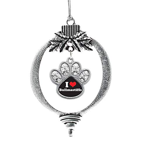 Inspired Silver - I Love Bullmastiffs Charm Ornament - Silver Pave Paw Charm Holiday Ornaments with Cubic Zirconia Jewelry