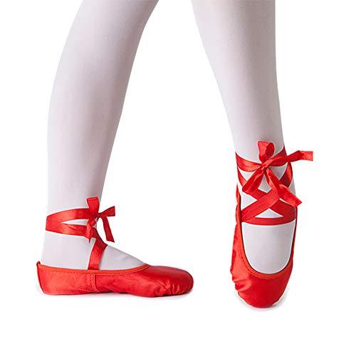 Girl's Silk Dance Shoe Ballet Slipper,Red,Toddler,10M -