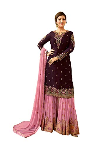 Indian Women Designer Partywear Ethnic Traditonal Purple Salwar Kameez.