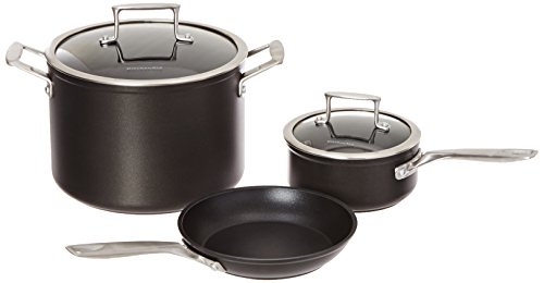 KitchenAid KCH2S5AKM Professional Hard Anodized Nonstick 5-Piece Cookware Set – Black For Sale