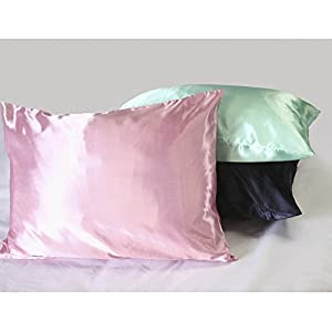 Sweet Dreams Luxury Satin Pillowcase with Zipper, Standard Size, Black (Silky Satin Pillow Case for Hair) By Shop Bedding