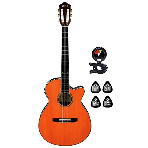 (Ibanez AEG10NII-TNG 6 Nylon String Cutaway Acoustic Electric Guitar with Ibanez AEQ-SP1 preamp w/Onboard Tuner Guitar Package with Clip on Guitar Tuner and 4 Zorro Sounds Guitar Picks)