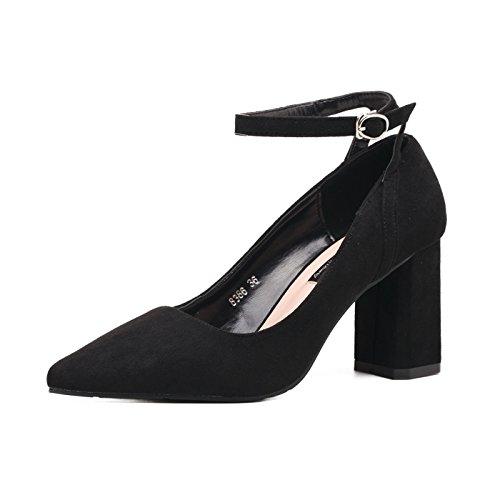 ZXMXY Sandalias para Mujer de Verano con Hebillas en la Correa de Tobillo Zapatos de tacón Alto con Punta de Gamuza Ante-PU Zapatos de la Corte Sandalias al Aire Libre Negro