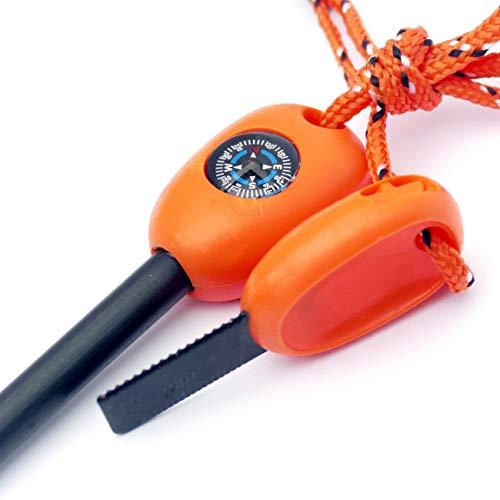 Weltenglück Feuerstahl Outdoor Magnesium 12000 Zündungen Orange – Firesteel Set Striker Zündstahl 8 mm – Feuerstarter XL