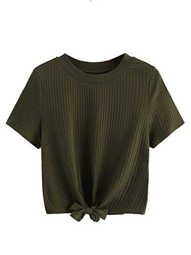 Cute Army Clothes (ROMWE Women's Cute Knot Front Solid Ribbed Tee Crop Top T-Shirt Army Green)