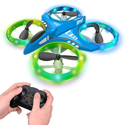 Dwi Dowellin 4.9 Inch Mini Drone for Kids LED Night Lights One Key Take Off Landing Flips RC Remote Control Small Flying…