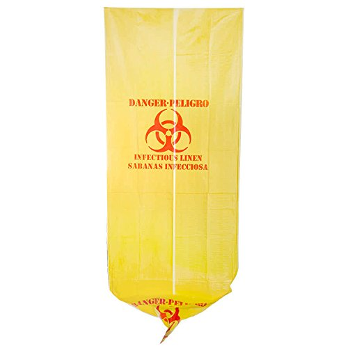 TableTop King 44 Gallon 37'' X 50'' Yellow Infectious Linen High Density Isolation Medical Waste Bag / Biohazard Bag 17 Microns - 200/Case by TableTop King