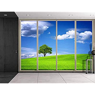 Majestic Portrait, Clouds Over Lone Tree on a Grass Hill Viewed from Sliding Door Creative Wall Mural Peel and Stick Wallpaper, Premium Creation