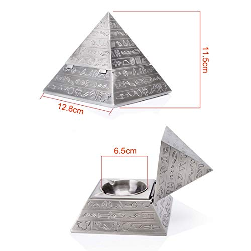 Lion Home Decor - Silver Creative Fashion Decoration Classic Vintage Egyptian Metal Carved Pyramid With Lid Ashtray - Totoro Ashtray Pocket Cross Charms Ancient Black Tray Pendant Cigar Church ()