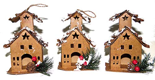 Winter Wonder 3 Card Stock Bird Houses Cabins Rustic Cottage Country Style Brown with Snow Christmas Tree Ornaments Bird House Christmas Tree Ornament