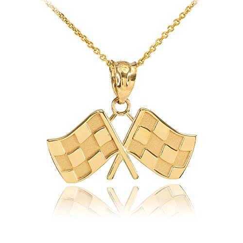 - Sports Charms 10k Yellow Gold Racing Flags Charm Pendant Necklace, 16