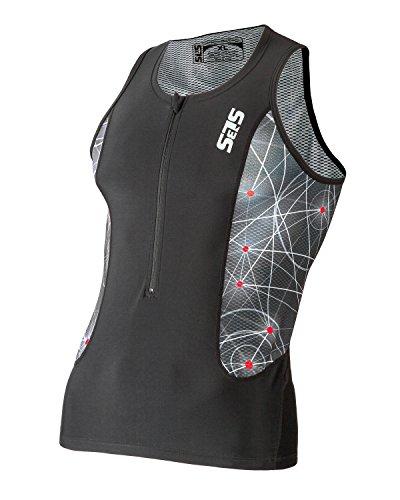 Triathlon SLS3 Men`s FRT Tri Top 2 Pockets Zipper Jersey - Singlet -Tank (Black/Red, L)