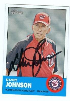 Davey Johnson autographed baseball card (Washington Nationals) 2012 Topps Heritage No.402