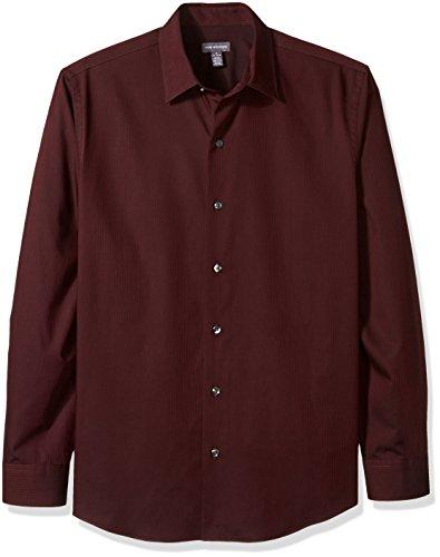 Van Heusen Men's Long Sleeve Stripe Sateen Shirt, Corazon, Large