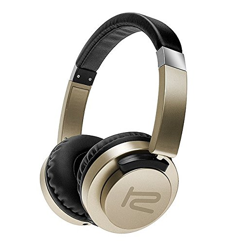Klip Xtreme AkoustikFX Stereo Headphones with Microphone-On-ear Flat Foldable Rotating Earcups-Noise Isolating-In-Line Controls-Large 40mm Speaker Drivers-Great Sound & Bass-3.5mm Connector-Gold Color