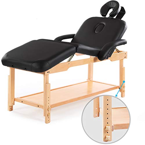 Massage Table Bed Stationary Professional Tilt Adjustable with Storage 3 Section Salon Couch Balck (Black)