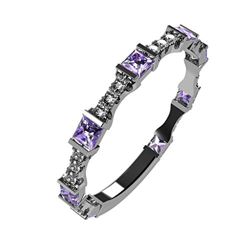NaNa Silver Stackable Ring Princess Cut Platinum Plated - Size 7 - Simulated Alexandrite - June -