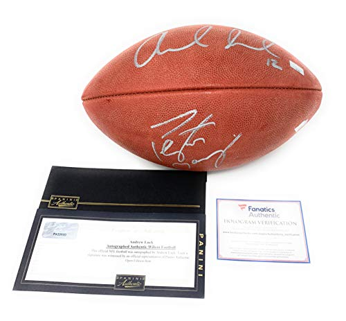(Peyton Manning Andrew Luck Indianapolis Colts DUAL Signed Autograph Authentic NFL Duke Football Fanatics Authentic Panini Authentic Certified)