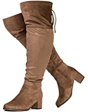 RF ROOM OF FASHION Women's Wide Calf Wide Width Chunky Heel Over The Knee High Boots