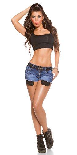 Koucla Jeans tolle Denim Shorts Damen Hot Pants Mini Blumen-Spitze und Aplikationen verschiedene Farben (40, Blau/Schwarz)