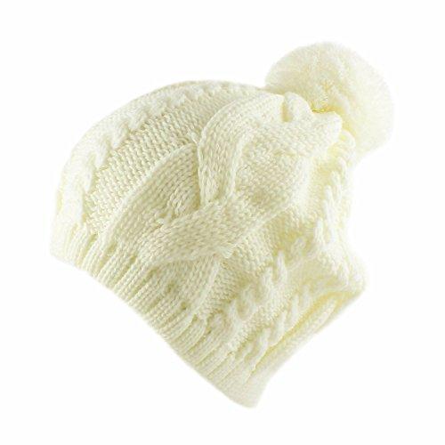 Morehats Warm Winter Ski Thick Crochet Knit Pom Pom Beanie Hat - Ivory