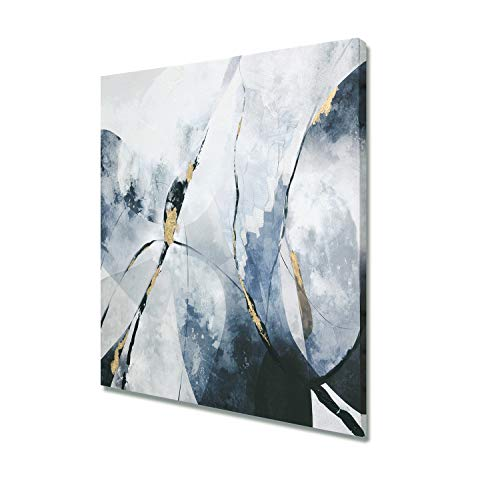 - Fox Art Oil Paintings Wall Art Decorative Abstract Painting with Gold Metallic Foil Hand Painted Modern Stripes Canvas Wall Decor for Living Room Bedroom Stretched and Framed Ready to Hang 32x32Inch