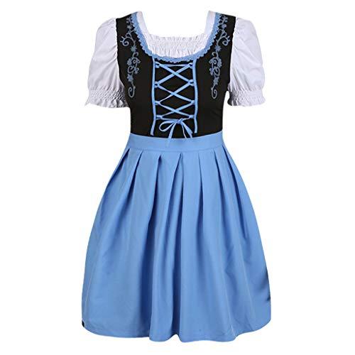 Londony ◈ Women French Maid Costume Sexy Black Satin Halloween Fancy Dress M-5XL Short Sleeves Above Knee Flare Dress ()