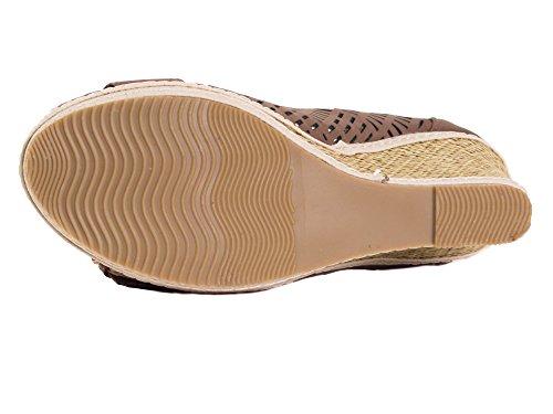 Tory Klein Womens & Ladies Classic Espadrillas Zeppa Piattaforma - Open Toe Design Fibbia Della Cintura - Marrone