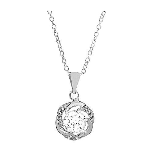 """Fashionvictime - Damen-Kette - """"Fleur"""" - Silber Rhodium Überzogen - Zirkonia - Zeitlos Jewellery"""