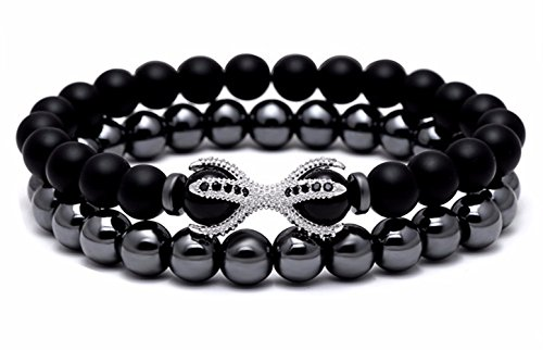 JOYA+GIFT+Black+Matte+Round+Beads+Bracelet+Set+Stone+Fashion+Jewelry+for+Men+Women