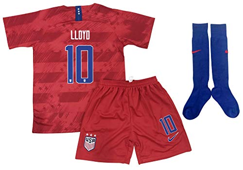 (New 2019-2020 Carli Lloyd #10 USA National Team Away Soccer Jersey Shorts & Socks for Kids/Youths (9-10 Years Old) Red)
