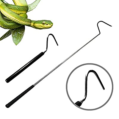 Collapsible Snake Hook for Catching, Controlling, or Moving Snakes, Stainless Steel & Copper Extend to 39.3 inch, Telescoping Pocket Stainless Steel Black Snake Shaft Retractable Reptile Hook