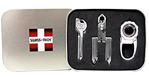 Swiss+Tech ST20027 Polished SS/Metallic Silver Utility Key, Pocket Mulititool, Carabiner Flashlight - Set of 3