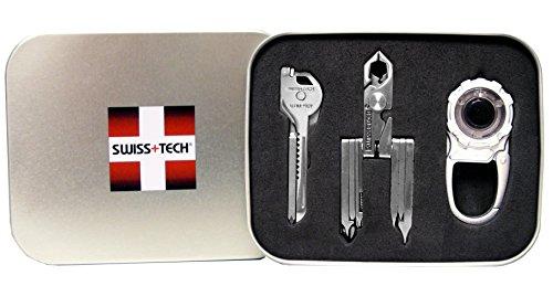 Swiss+Tech ST20027 Polished SS/Metallic Silver Utility Key, Pocket Mulititool, Carabiner Flashlight - Set of 3