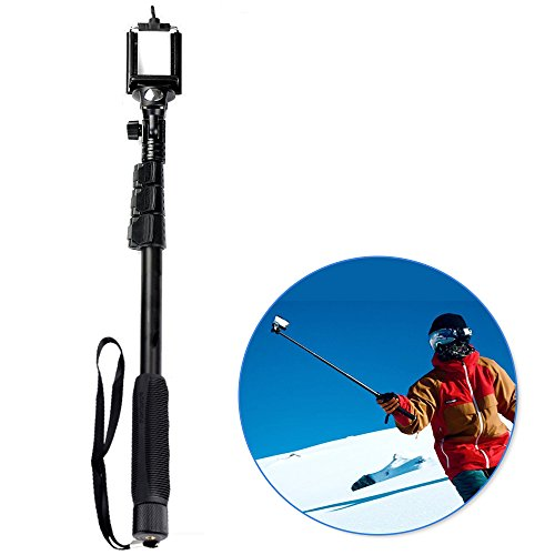 Enpassion Monopod Selfie Stick - for GoPro Hero 1 2 3 3 4Camera and Cell Phone with Bluetooth Remote Control & GoPro Mount