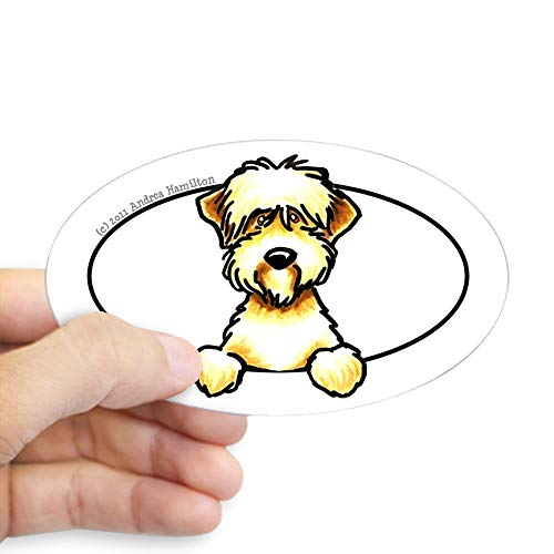 (CafePress Soft Coated Wheaten Terrier Peeking Bumper Sticker Oval Bumper Sticker, Euro Oval Car Decal)