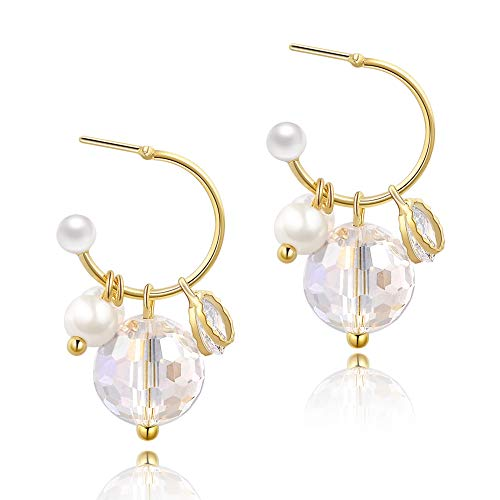 Girls Crystal Earrings Plated Golden Circle Freshwater Pearl Drop Earrings Jewelry for - Pearl Freshwater Circle Drop