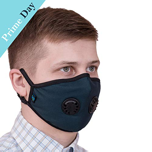 ToRespire Dust Mask N95 N99 Anti Pollution Mask Face Respirator w/ Antiviral / Activated Carbon Filters Reusable & Washable w/ Adjustable Head Straps for Men Women (Small Black)