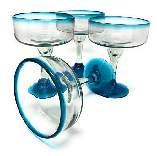 Mexican Hand Blown Glass - Set of 4 Hand Blown Margarita Glasses (16 oz) with Aqua Blue Rims