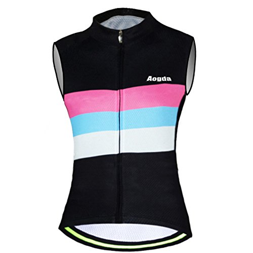 Aogda Cycling Vests Jerseys Women Bike Shirts Sleeveless Clothing Ladies Biking Shorts Bicycle Tights (05A, Large)