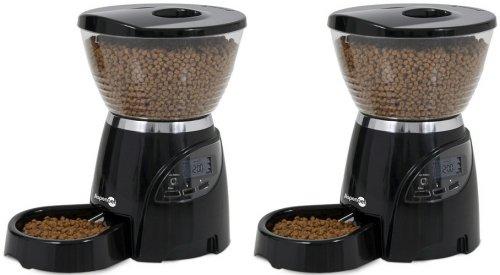 Petmate 5LB Le Bistro Portion Control Black Cat Dog Feeder x2 Case by Petmate