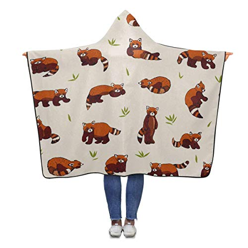INTERESTPRINT Cute Red Panda Throw Blanket 80 x 56 inches Adults Girls Boys Wearable Blankets
