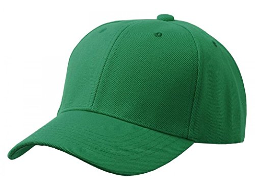 QML Plain Baseball Blank Hat Solid Color Velcro Adjustable ( 30 Colors ) (KELLY GREEN)